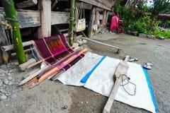 一位传统Batak Ulos织布工 免版税库存图片