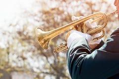 一位军事音乐家的特写镜头 免版税库存照片