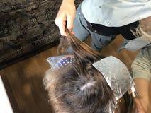 一位单独企业家在家提供服务 美发师绘妇女的头发 库存照片