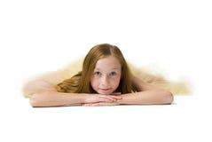 一位可爱的年轻芭蕾舞女演员的演播室画象 免版税库存图片