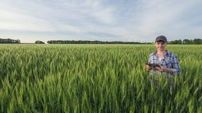 一位女性农夫的画象有片剂的在手中 站立在麦田中间 库存照片