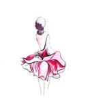 一位女性的例证一件时兴的礼服的 免版税库存照片