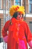 一位女演员的画象红色动物狂欢节服装的 免版税图库摄影