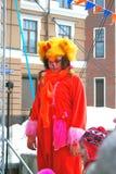 一位女演员的画象红色动物狂欢节服装的 免版税库存图片