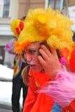 一位女演员的画象红色动物狂欢节服装的 图库摄影