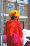一位女演员的画象红色动物狂欢节服装的 免版税库存照片