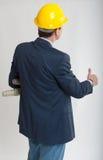 一位工作的建筑师的背面图 图库摄影