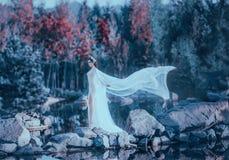 一位年轻女巫通过狂放的石头桥梁走由河,佩带白色,葡萄酒,有长的通风礼服 免版税图库摄影