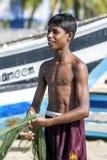 一位年轻渔夫在斯里兰卡 图库摄影