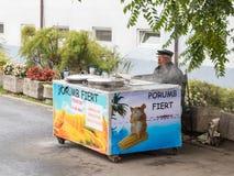 一位年长卖主在锡比乌市卖煮熟的玉米在罗马尼亚 图库摄影