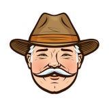 农夫帽子_一位微笑的农夫的画象帽子的 也corel凹道例证向量 向量例证