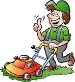 一位愉快的花匠的例证有他的lawnmow的 免版税库存照片