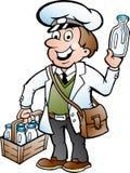 一位愉快的送牛奶者的例证 免版税库存照片