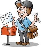 一位愉快的邮差的例证 免版税库存照片