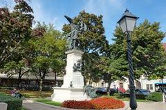 一位战士的雕象在布达佩斯 免版税库存照片
