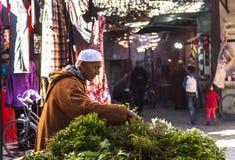 一位推销员在马拉喀什上,摩洛哥Souk市场  库存照片