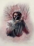 一位摄影师的抽象自画象纹理的 库存图片