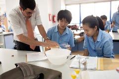 一位教授和他的学生在科学期间分类 免版税库存照片