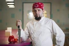 一位时兴的厨师的画象有一把刀子的在班丹纳花绸 免版税库存图片
