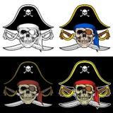一位海盗的头骨上司有一把大帽子和横渡的剑的 库存例证