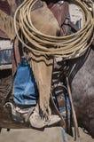 一位牛仔的细节在工作 免版税库存照片