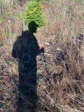 一位猎人的阴影在领域的 库存照片