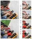 一位电工技术员的照片拼贴画在住宅电子设施的工作 免版税图库摄影