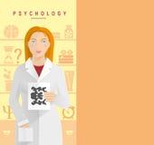 一位白外套心理学家的一个女孩 图库摄影