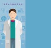 一位白外套心理学家的一个年轻人 免版税库存照片