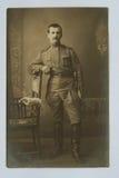 一位皇家俄国军官的原物1917古色古香的照片 库存照片