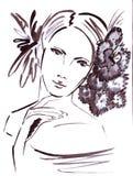 一位美丽的女性的例证画象有花的在她的头发 免版税图库摄影