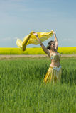 一位美丽的肚皮舞表演者的画象 图库摄影