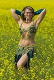 一位美丽的肚皮舞表演者的画象 库存照片