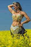 一位美丽的肚皮舞表演者的画象 免版税库存照片