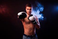 一位肌肉拳击手的演播室画象EU专业手套的  免版税图库摄影