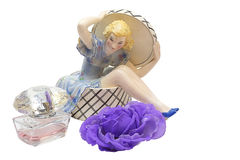 一位芭蕾舞女演员的小雕象白色背景的 免版税库存照片
