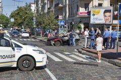 一位著名新闻工作者Pavel Sheremet的谋杀在基辅,乌克兰 库存照片