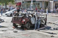 一位著名新闻工作者Pavel Sheremet的谋杀在基辅,乌克兰 图库摄影