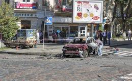 一位著名新闻工作者Pavel Sheremet的谋杀在基辅,乌克兰 免版税库存照片