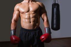 一位赤裸上身的肌肉拳击手的中间部分 库存照片