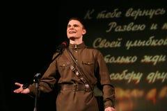 一位年轻俄国战士的F fromportrait,诗人,英雄 戏剧强比那里死亡是仅生活 库存图片