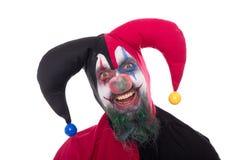 一位滑稽的供人潮笑者的画象,隔绝在白色 免版税库存照片