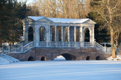 一冷淡的11月天的大理石桥梁特写镜头 Tsarskoe Selo凯瑟琳公园  免版税库存图片