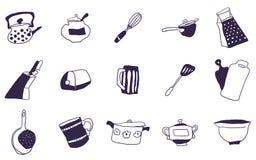 一切的选择厨房乱画图画的 库存例证