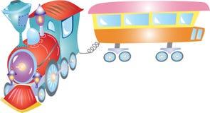 一列减速火箭的玩具蒸汽火车 免版税库存图片