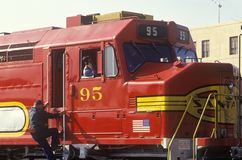 一列历史的圣菲火车在洛杉矶,加州 图库摄影