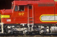一列历史的圣菲火车在洛杉矶,加州 免版税库存照片