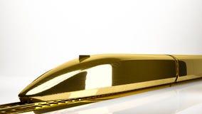 一列快车的金黄3d翻译在演播室里面的 免版税库存照片