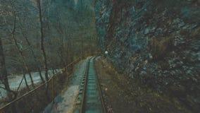 一列老火车或机车沿一条narrow-gauge铁路移动在一道狭窄的峡谷 火车沿移动 股票录像