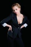 一副黑胸罩的女孩 免版税库存照片